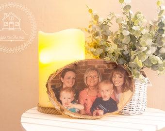Large Rustic Photo Block, Photo Keepsake, Family Photo, Wooden Transfer, Natural Photo Frame, Large Wood Slice