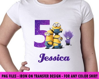 Minions Iron On Transfer , Minions DIY Transfer , DIY Minions Birthday Shirt , Minions Personalize Name And Age , Digital Files