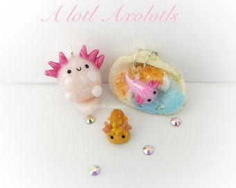 Opalescent Kawaii Axolotl Polymer Clay Charm, cute miniature animal jewelry