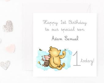 Personalised Winnie The Pooh Birthday Card, Baby Birthday Card, Any Name, Age, Wording Winnie the Pooh Greeting Card, 1st, 2nd, 3rd, Custom