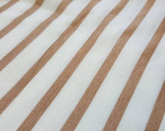 Gold and ivory striped modal rayon lycra blend knit fabric, one yard - striped knit fabric - poly blend fabric - cotton lycra fabric