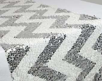 Chevron Silver and White Sequin Table Runner Fancy Wedding Table Setting Boho Sale Cloth Sparkly Wholesale Baby Shower Bridal Glitter