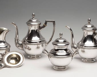 Coffee and tea set; Spain, early twentieth century. Sterling Silver 916, with contrasts