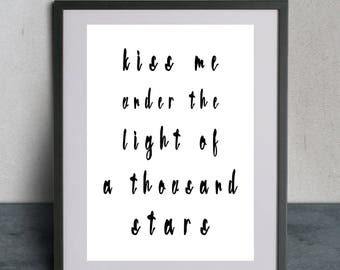 Digital Prints, Ed Sheeran, Thinking Out Loud, Song Lyrics, Romantic Gift, Relationship Gift, Romantic Lyric Print, Valentines, Gift, Songs