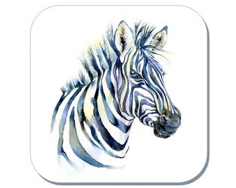 Zebra Coaster (Corked Back) - from an original Sheila Gill Watercolour Painting