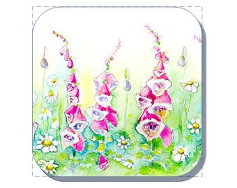 Foxgloves British Wild Flower Collection (Corked Back). From an original Sheila Gill Watercolour Painting