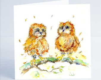 You're a Hoot  - Owl Greeting Card  - Taken from an original painting by Sheila Gill.