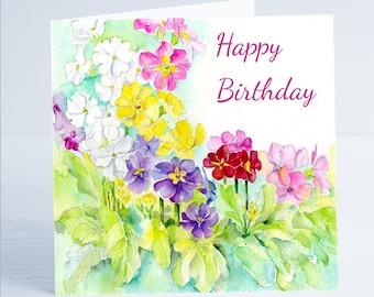 Happy Birthday Polyanthus Flower Greeting Card