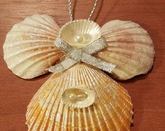 Hand crafted large angel shell Christmas ornament