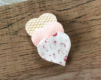 Sweet Unicorns Heart Snap Clip - Faux Leather - Snap Clips - 50mm Clips - 2.5 inches - Chunky Glitter - Hair Bows