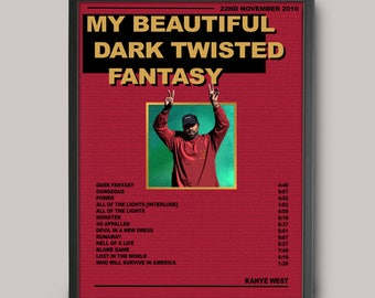 Kanye West My Beautiful Dark Twisted Fantasy Custom Music Poster