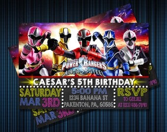 POWER RANGERS INVITATION - Personalized Invitation - Custom Birthday - Printables Invitation - Digital file Download