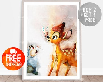 Bambi Poster, Rabbit Bambi Print, Disney Print, Kids Room Wall Hanging, Watercolor Painting Effect, Nursery Print, Kid Poster, X22B