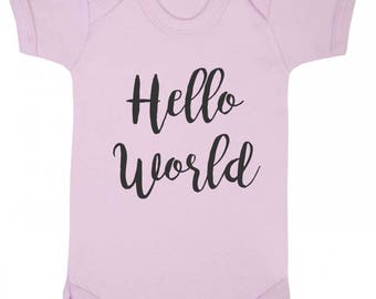 Baby Bodysuit - Novelty - Hello World - Available from 0 to 12 months in blue, pink or white.