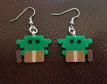 Yoda Earrings- Star Wars - Perler Beads