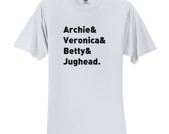 "Riverdale TV Show ""Character Names - Archie Betty Veronica & Jughead."" T-Shirt"