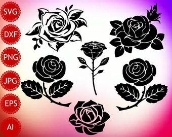 Rose SVG, Rose Silhouette, Rose Vector, Rose Printable, Instant Download