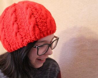 Hand-Knit Red Cable Hat
