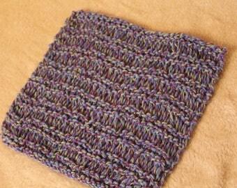 Large Hand-Knit Drop-Stitch Cotton Dishcloth