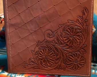 Handmade Floral Tooled Leather Binder