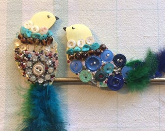 Colorful, unique hand decorated bird wall hanging