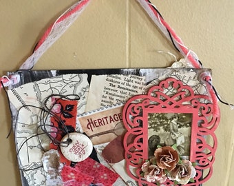 Mixed media vintage art, one of a kind