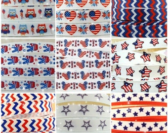 3/8 Inch Fourth of July USA Patriotic Ribbon, Wholesale