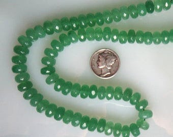 Green Jade Faceted Rondelle Beads 5x8mm Half Strand