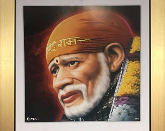 "Sai Baba of Shirdi hindu god Size - 10"" X 10"" Inches - Photo Picture Frame"