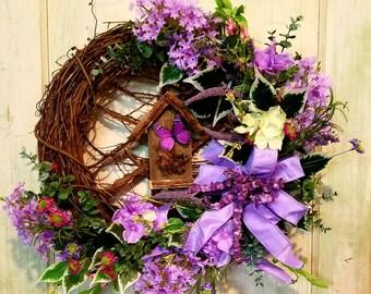Spring wreath, grapevine wreath,  lavender flower wreath,rustic wreath,everyday wreath,birdhouse  wreath,year round wreath,farmhouse wreath