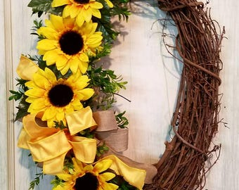 Sunflower wreath, sunflower grapevine wreath,summer wreath,sunflower wreath for front door,  sunflower wreaths for front door,sunflower