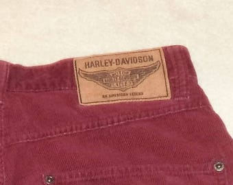 Vintage Burgundy Corduroy Harley Davidson Size 8   28x30     #5