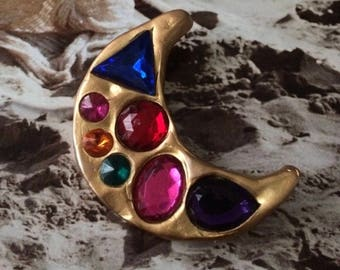 Vintage don Lin gold plated jeweled brooch