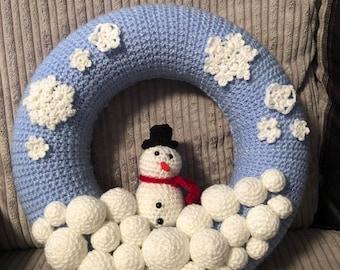Crocheted Snowman Wreath