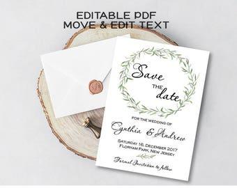 Greenery save the date template Botanical save the date card Rustic wedding save the date invitation Boho save the date printable DIGITAL