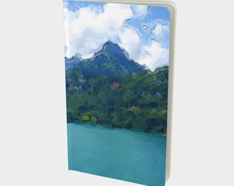"""Journal (Small) Serene landscape """"Vibrant Lake"""" by Malinee Ganahl. Art Notebook, Sketchbook. Plain, ruled, grid, or bullet pages. 5""""x8.25"""""""