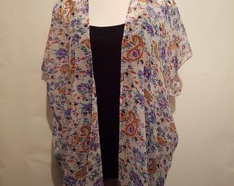 Handmade Chiffon Kimono - White / Floral - Fits to Size 22 | Kimono Jacket | Kimono Top | Kimono Dress | Kimono Robe | Kimono Cardigan