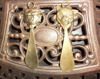 Vintage spoons for shoes. Litya.Rozhki for shoes-style1970 years. Made in USSR. Spoons with faces of cats.