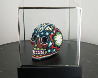 Beaded Mexican Huichol Skull in Display Case, Turquoise & Orange Glass