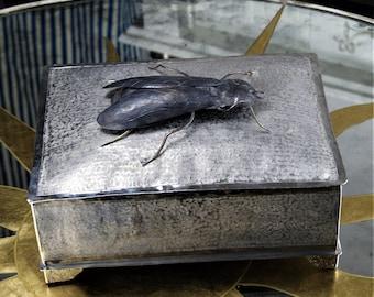 Box in Silver Alpaca with Giant Fly in Gun Metal Finish