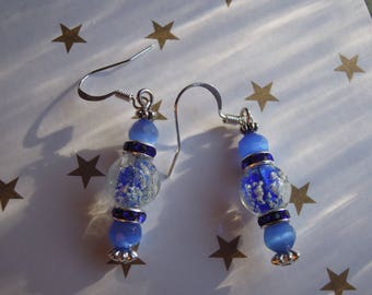 Blue earrings with Rhinestone rings