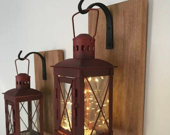 Hanging Lantern Sconces, Lantern Sconces, Wall Decor, Home & Living, Rustic Home Decor, Rustic Lantern