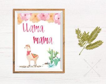 Llama Mama Printable Wall Art, No Drama Llama, Llamas, Funny Printable Wall Art, Llama Wall Art, Llama Print, Alpaca Prints