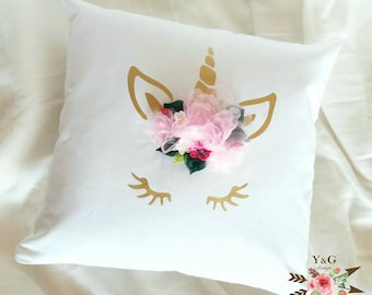 Unicorn cushion cover with flowers