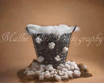Newborn Digital Background Backdrop Vintage White Cotton Burlap Bucket Composite