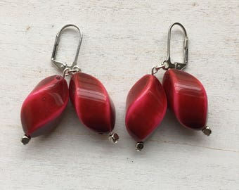Wine-Colored Beaded Drop Earrings - Perfect for Valentine's Day