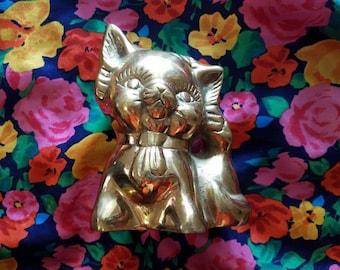 70s brass cat figurine