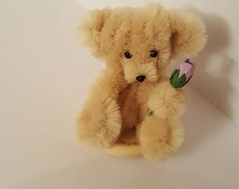 A flower for you bear, hand made Chenille bear