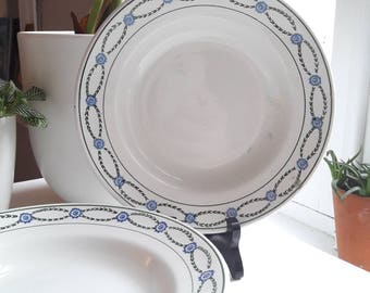 French vintage faience Saint Amand Annees40 6 plates