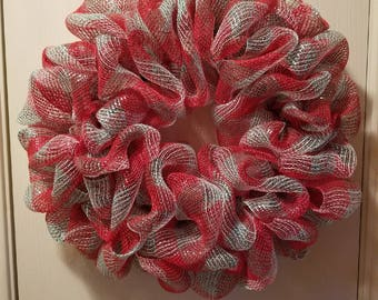 Red and Light Green Deco Mesh Wreath